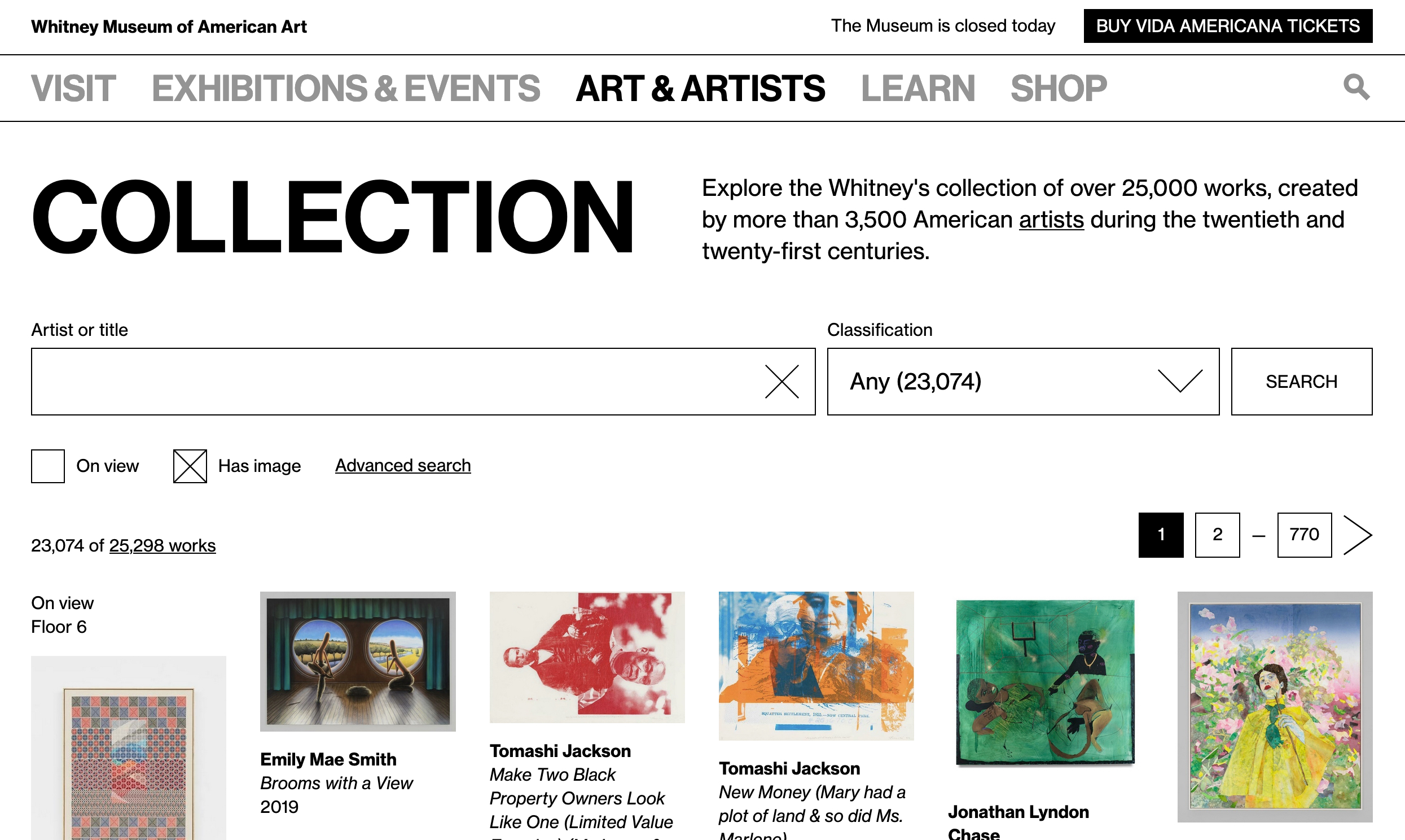 A screenshot of the Whitney's online collection front page as of March 2020.